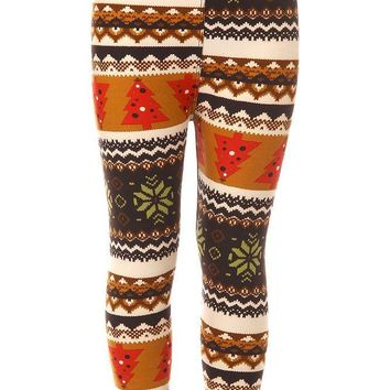 Kid's Colorful Fair Isle Snowflake Tree Pattern Printed Leggings