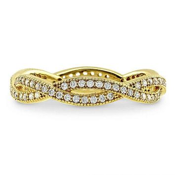 14K Yellow Gold Micro Pave Russian Lab Diamond Wedding Band Stacking Ring