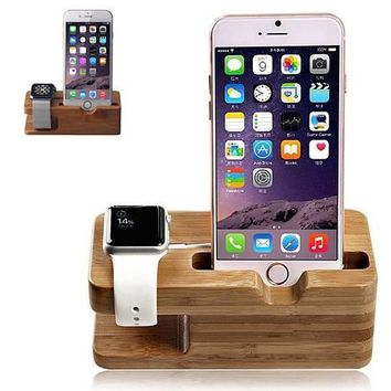 Cool Wooden Dual Charging Cradle for iWatch and iPhone