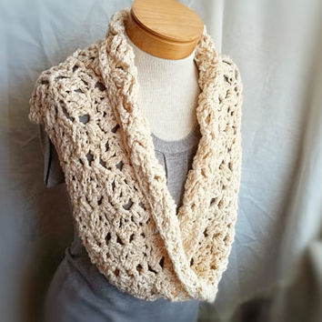 infinity cowl scarf ivory chunky crochet handmade hand dyed cotton ivory wedding shawl shrug long loop