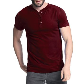 Men's T-shirt Henley Shirts Casual Muscle Tee Short Sleeve Pullover Tshirt Men Clothes Fashion Slim Fit Male Top 3XL Hombre