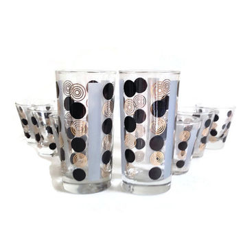 Mid Century Barware-Cocktail Glasses-Polka Dots-Black Gold Gray-Set of 8-Two Sizes-Retro Glassware-Home Decor-Mad Men-Father's Day-Shot