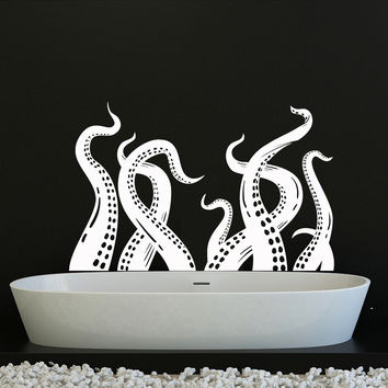 Vinyl Wall Decal Octopus Tentacles Kraken Bathroom Decor Stickers (ig4144)