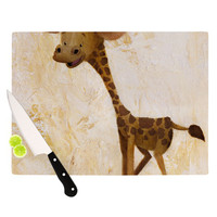"Rachel Kokko ""Georgey The Giraffe"" Brown Tan Cutting Board"