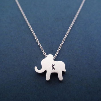 Cute, Elephant, Initial, Personalized, Gold/ Silver, Necklace