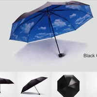 Andyshi Novelty Sky Printing Durable Compact Travel Sun Rain Umbrella Sky Inside