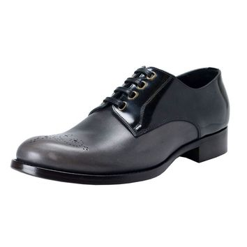 Dolce & Gabbana Men's Black & Gray Leather Derby Oxfords Shoes