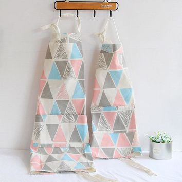 1 pcs Plaids Pattern Apron Woman Adult Children Bibs Home Cooking Baking Shop Cleaning Apron Kitchen Accessory 46101