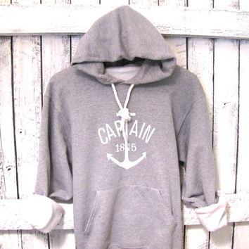 FREE SHIPPING - Unisex Nautical Hoodie, Women's Nautical Hoodie, Anchor Sweatshirt, Anchor Hoodie, Nautical Sweatshirt
