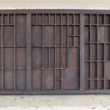 Wood Printing Press Tray, Large Divided Typography Tray, Early Letter Tray, 32 Inch