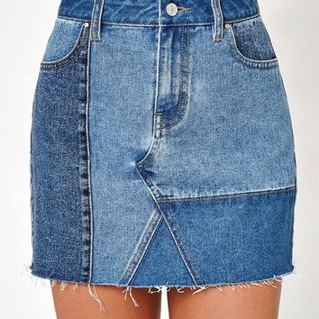 DCCKYB5 Denim Patchwork Skirt