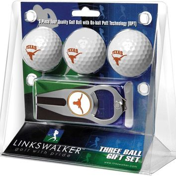 Texas Longhorns 3 Ball Gift Pack with Hat Trick Divot Tool