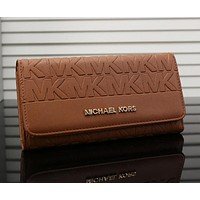 Michael Kors MK Women Leather Zipper Buckle Wallet Purse