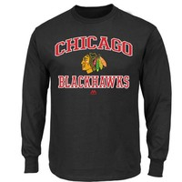 Men's Chicago Blackhawks Majestic Black Heart & Soul III Long Sleeve T-Shirt