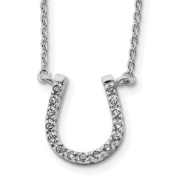 Sterling Silver Horseshoe CZ Necklace QH782