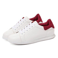 White And Red Lace Up Soled Sneakers