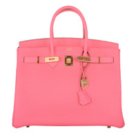 JF GOT IT! Hermes Birkin Bag ROSE LIPSTICK GOLD HARDWARE TOGO