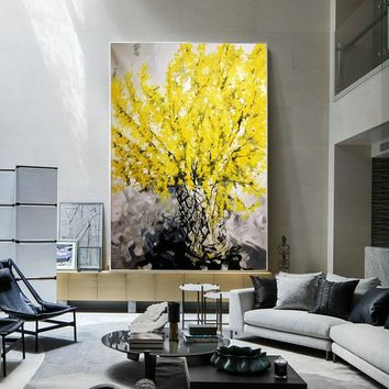Abstract yellow tree acrylic painting on canvas heavy texture Palette Knife Wall Art Pictures for living room wall decor cuadros abstractos