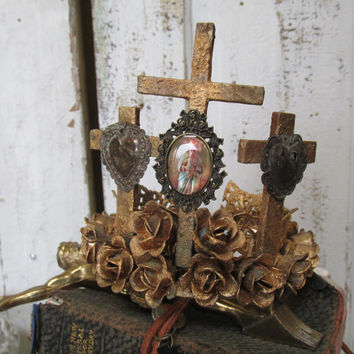 Statue crown handmade heavily embellished cut metal roses ornate sacred hearts French Santos inspired headdress home decor anita spero