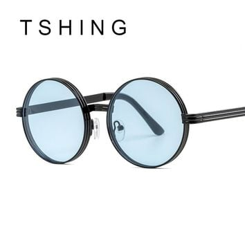 TSHING Vintage Gothic Steampunk Round Sunglasses Men Women Vintage Circle Wrap Clear Lens Sun Glasses For Male Female Eyeglasses