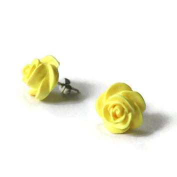 Neon Yellow Earrings, Neon Jewelry, Yellow Rose, Neon Yellow, Yellow Earrings, Polymer Clay, Clay Earrings, Rose Earring, Roses, Studs