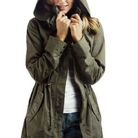 King Ma Women's Zip Hooded Drawstring Military Jacket Parka Coat (S)