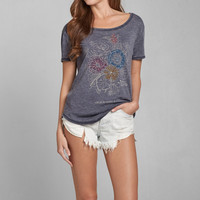 Floral Burnout Graphic Tee