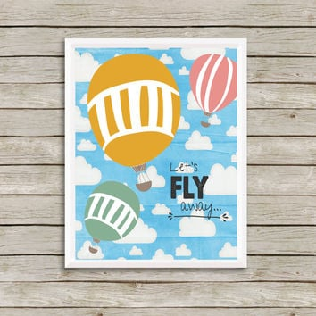 Let's Fly Away Art Print 8 x 10 INSTANT Digital Download Printable