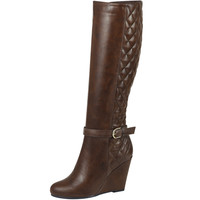 Womens Knee High Boots Quilted Front And Ankle Strap High Wedge Shoes Cognac SZ