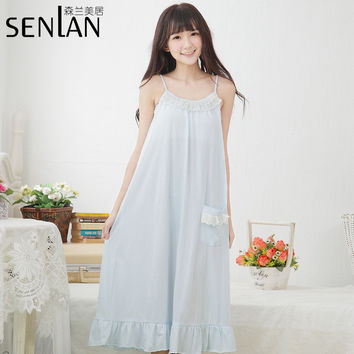 Sexy Girl's Summer Nightgown Cotton Lounge Wear with Lace Detailing