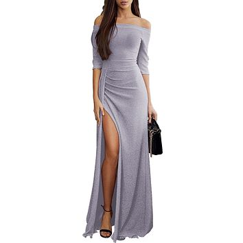 Gray Metallic Glitter Off Shoulder Maxi Slit Party Dress