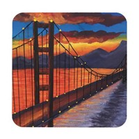 watercolor Golden Gate painting coasters