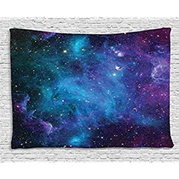 Nebula Tapestry Space Decorations by Ambesonne, Galaxy Stars in Space Celestial Astronomic Planets in the Universe Milky Way Print, Bedroom Living Room Dorm Wall Hanging Tapestry, Navy Purple