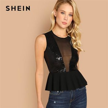 SHEIN Black Contrast Sequin Peplum Top Slim Fit Sexy Contrast Mesh V Neck Plain Tops Women Night Out Casual Tank Vests