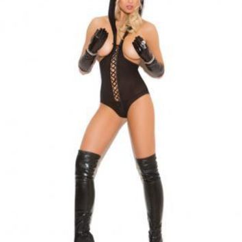 Elegant Moments Vivace Opaque Cupless Teddy w/Lace Up Front Detail, Hood and Open Back Black O/S