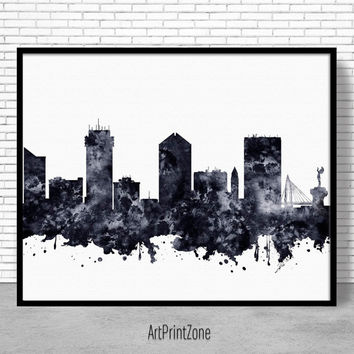 Wichita Print, Wichita Skyline, Wichita Kansas, Office Decor, Office Poster, Skyline Art, Cityscape Art, ArtPrintZone
