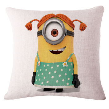 Minion Creative Linen Cushion Case With No Filling  throw Pillow Emoji