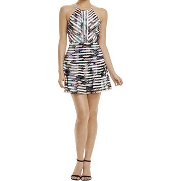 Parker Womens Mesh Inset Printed Party Dress