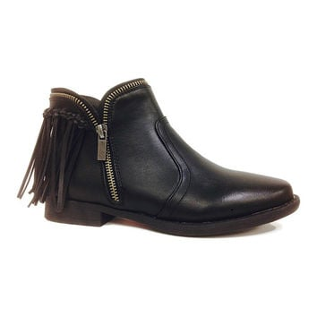 Dollhouse Black Commitment Fringe Ankle Boot | zulily