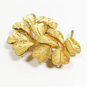 Vintage Mid Century Coro 1940s 1950s 1960s Designer Signed Francios Jewelry, Gold Tone Floral Brooch, Flower Leaves Pin, Plants and Trees