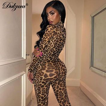see through transparent leopard print sexy womenS mesh long jumpsuit
