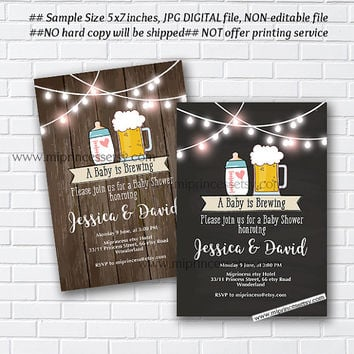 Baby shower, baby brewing invitation, chalkboard or wood background , Beer Baby Shower - co ed baby shower invitation , Baby Q  card 1013