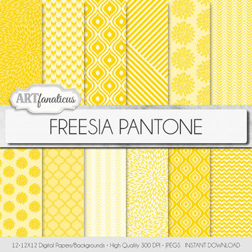 "Yellow digital paper ""FREESIA PANTONE"" backgrounds, geometric designs, quatrefoil, floral, spring color for scrapbooking, photographers"