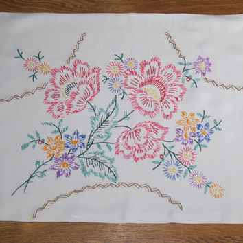 Vintage floral cotton PILLOWCASE Polish hand embroidered pillow cover flowers floral pattern bedding Folk Cushion Cases  cushion covers