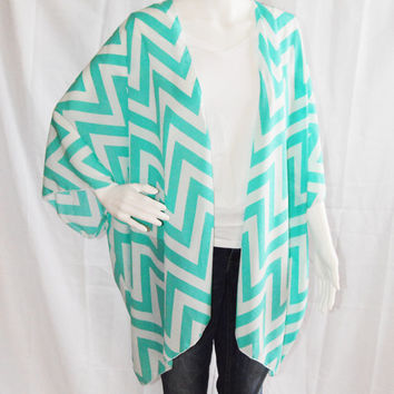Turquoise Chevron Kimono Cardigan/ Modern Kimono Jacket/ Colorful Lightweight Wrap/ Boho Clothing/ Layering Cardigan/ Cover up