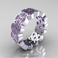 Art Masters Classic 14K White Gold Lilac Amethyst Womens Wedding Band R272BF-14KWGLAM