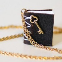 Black Statement - Mini Book Necklace | UsTrendy