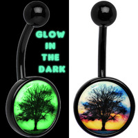 Glow in the Dark Titanium Sunset Tree Belly Ring | Body Candy Body Jewelry