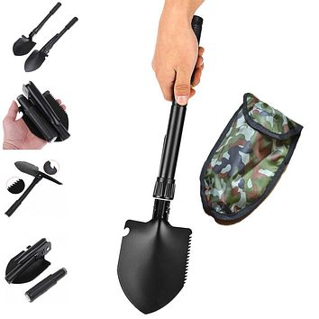 Hot sale Multi-function Military Portable Folding Camping Shovel Survival Spade Trowel Dibble Pick Emergency Garden Outdoor Tool