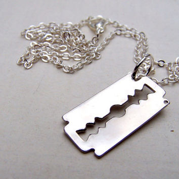 Razor Blade Necklace Mens Necklace Razor Blade Jewelry Unisex Necklace Gothic Goth Dimebag Darrell Pantera